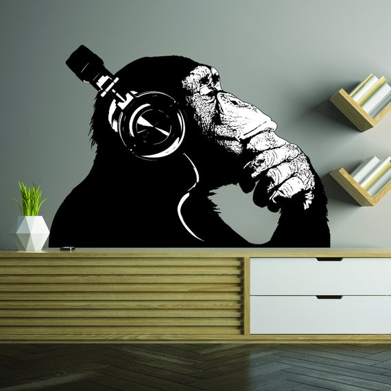 Denken Affe Wand Kunst Aufkleber Banksy Dj Schimpanse Aufkleber Denker Gorilla Mit Kopfhörer Home Dekor Street Art Graffiti Wandbild Druck