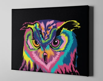 Colorful Owl Canvas Print - Large Wall Art Room Decor Night Bird Rainbow Owls Painting Prints - Abstract Owl Lovers Gift Birds Charm Theme