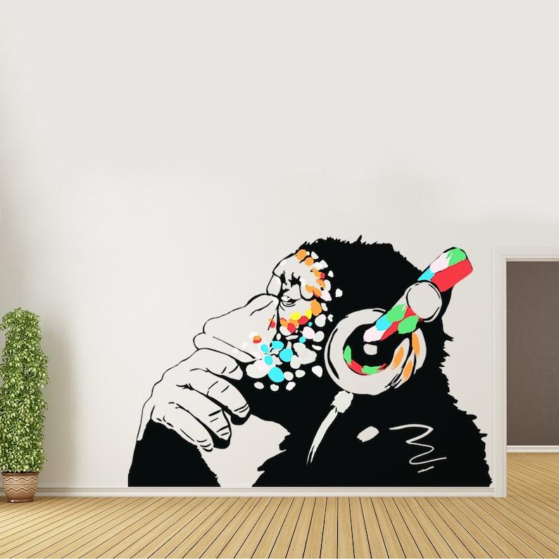 Banksy Thinking Monkey Sticker - Art Vinyl Street Dj Baksy Wall Decal -  Headphones Chimp Music Thinker Graffiti Mural - Boy Smart Decals