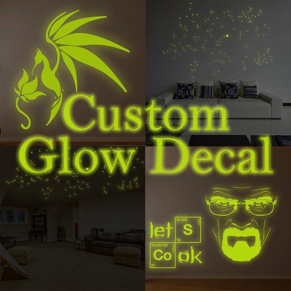 custom glowing vinyl wall decal customised glow in dark   etsy