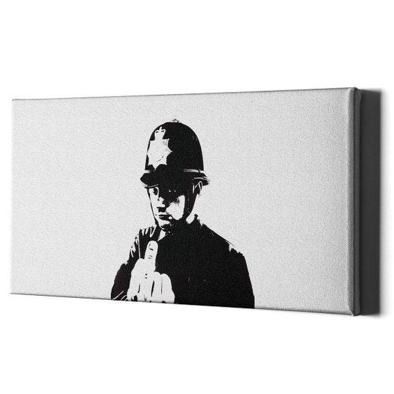 Stampa su Tela Vernice Effetto Pennellate Banksy il bacio dei poliziotti