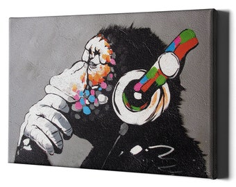 Thinking Monkey Headphones Canvas Wall Art Print - Banksy Dj Gorilla Thinker Nursery Large Framed Decor Music Funny Street Graffiti Bedroom