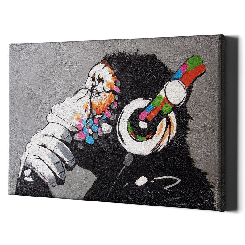 Thinking Monkey Headphones Canvas Wall Art Print  Banksy Dj image 0