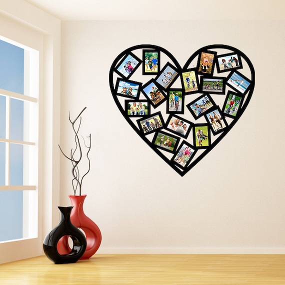 Vinyl Wall Decal Picture Frames Design Heart Shape Photos | Etsy