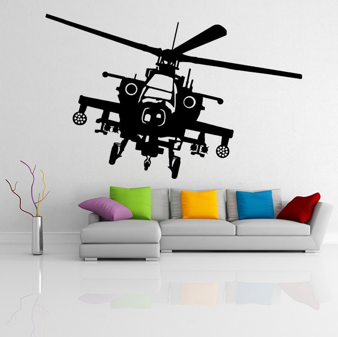 Vinyl Wall Decal Army Helicopter Design War Machine Art Etsy