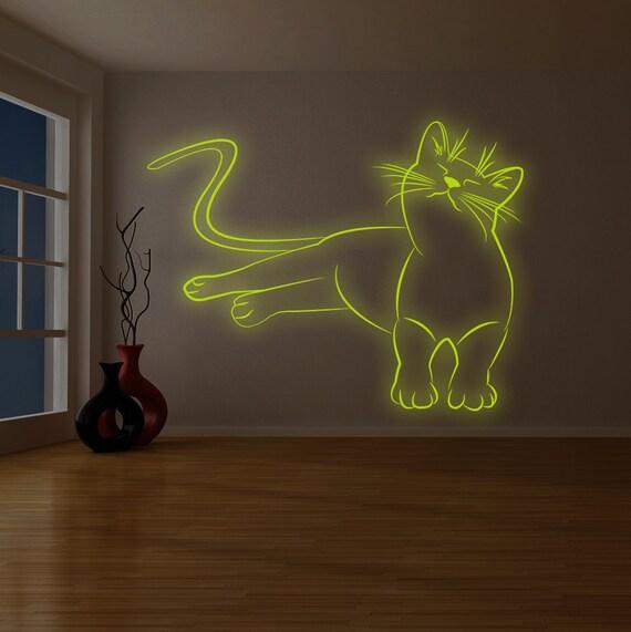 nursery glow in dark cat glowing art in the night | etsy