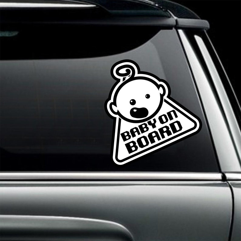 White Babies On Board Baby Car Sticker Sign Safety Vinyl Decal Decals/emblems/license Frames
