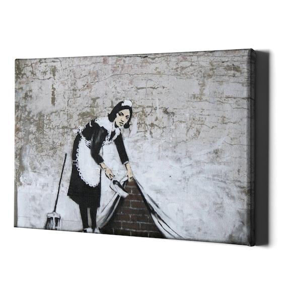 Maid Grafitii Banksy Street SINGLE Leinwand Wand Kunst Bild drucken