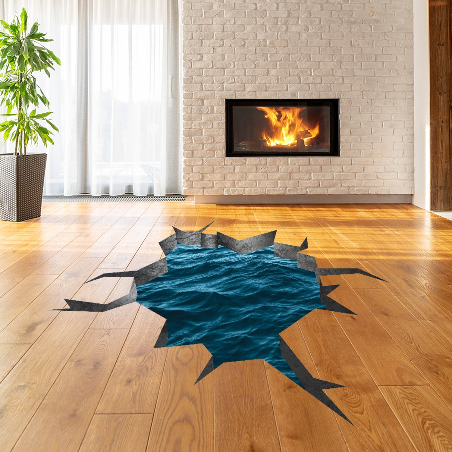 3d Floor Decals Ocean Water Wall Sticker Sea Porthole Etsy