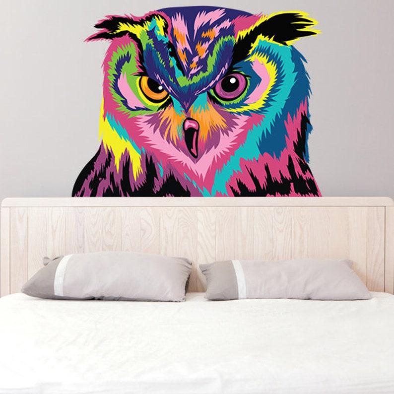 owl wall sticker decor vinyl art decal wild bird head | etsy