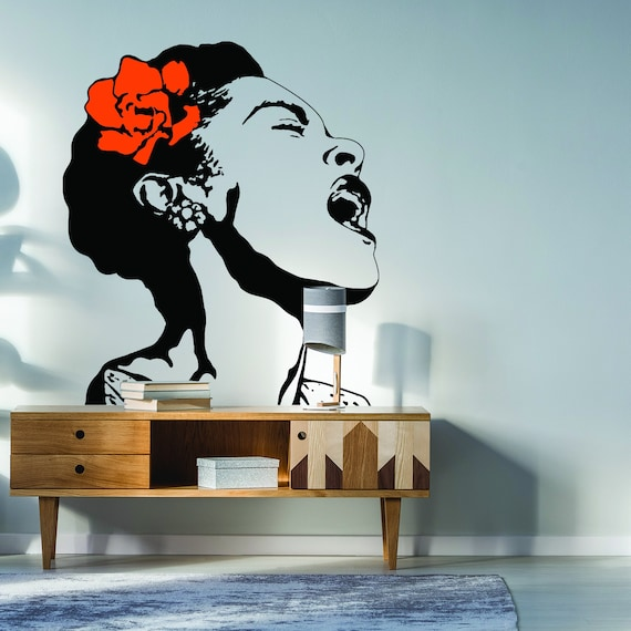 life is beautiful banksy street art wall decal singing woman   etsy
