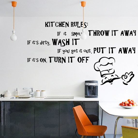vinyl wall decal quotes kitchen rules inspirational text art | etsy