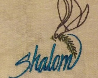 "355 Shalom Aleichem ""Peace be to you"" 100% Linen White with Sea Blue Ribbon and Embroidered Prayer Shawl"