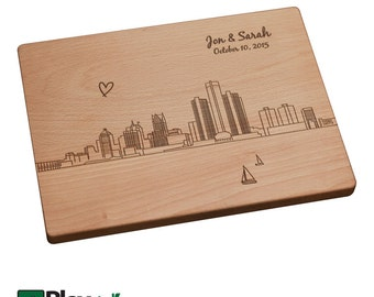 Detroit Skyline, Detroit MI, Personalized Engraved Cutting Board | Best Cutting Board, Wedding Gift, Unique Gift Ideas, Michigan Gift Ideas