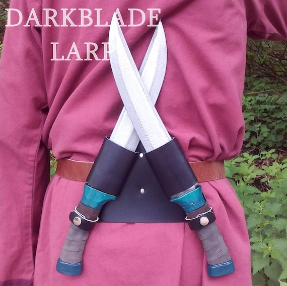 Cosplay or Costume. Larp Throwing Knives Twin Belt Holster with Larp Safe Knives for Larp