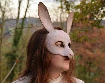 Papier-mâché mask - The pink rabbit - Cabinet of curiosities, unique piece