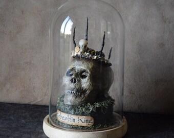 Cabinet of curiosities - The Hobgoblin King - mummy skull - sculpture unique piece