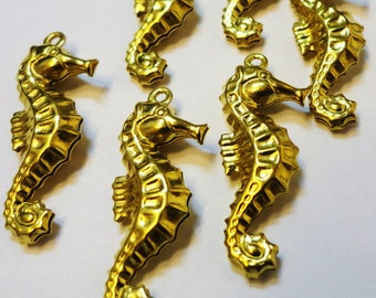 Brass Sea Horses Charm - 6
