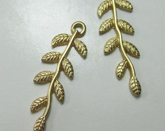 Gold Leaves, Earring Components, Jewelry Supplies, Light Weight Metal, Gold Metal - 2 Pieces