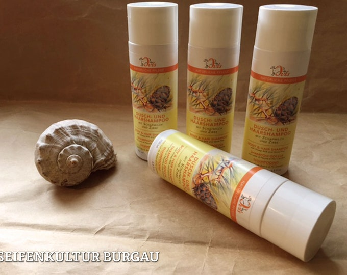 Shower and hair shampoo with sheep's milk and pine