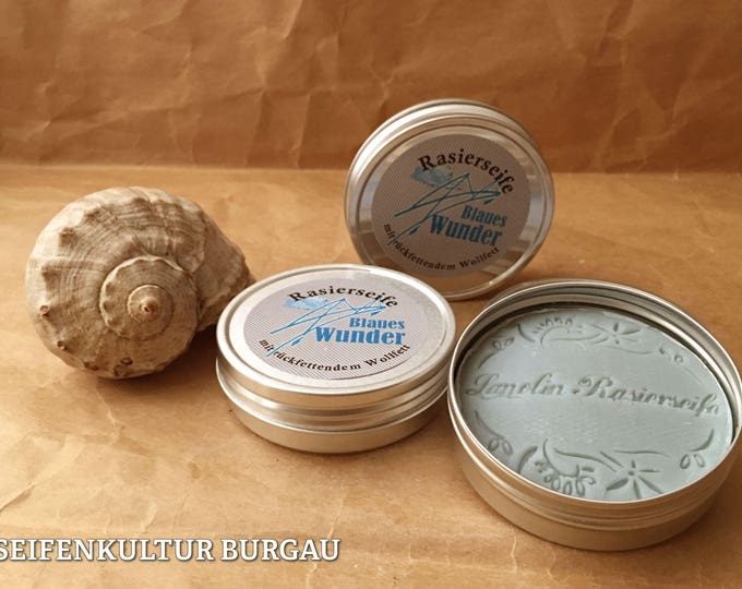 "Shaving soap ""Blue Miracle"" with backchain lanolin"