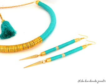 Boho chic jewelry. Tribal jewelry. African jewelry. african statement. Tassel necklace. Turquoise jewelry. Summer jewelry.