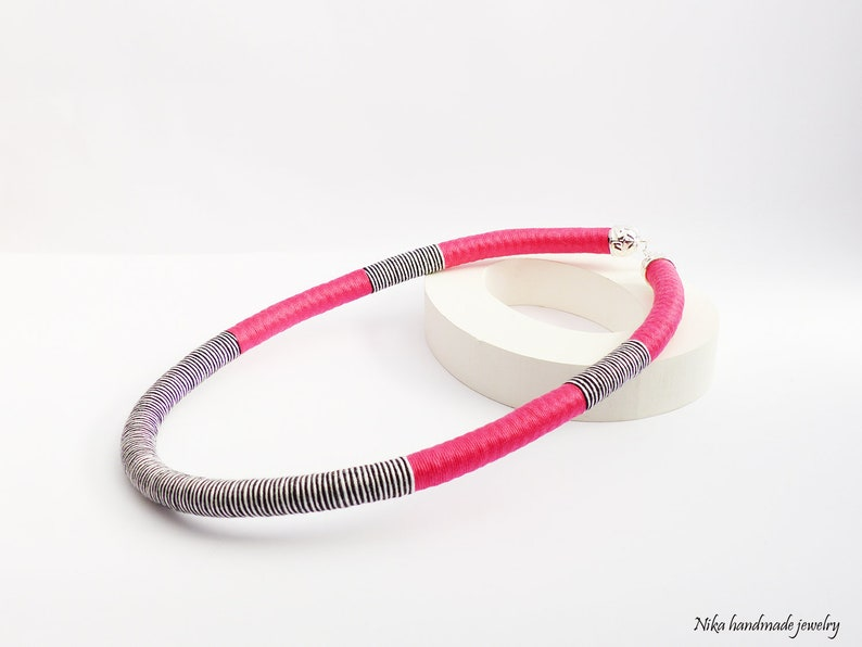 Black and white Necklace Tribal Boho Jewelry Unique Gift for Her Rope Color Block Chevron Necklace Textile Pink Necklace For Women