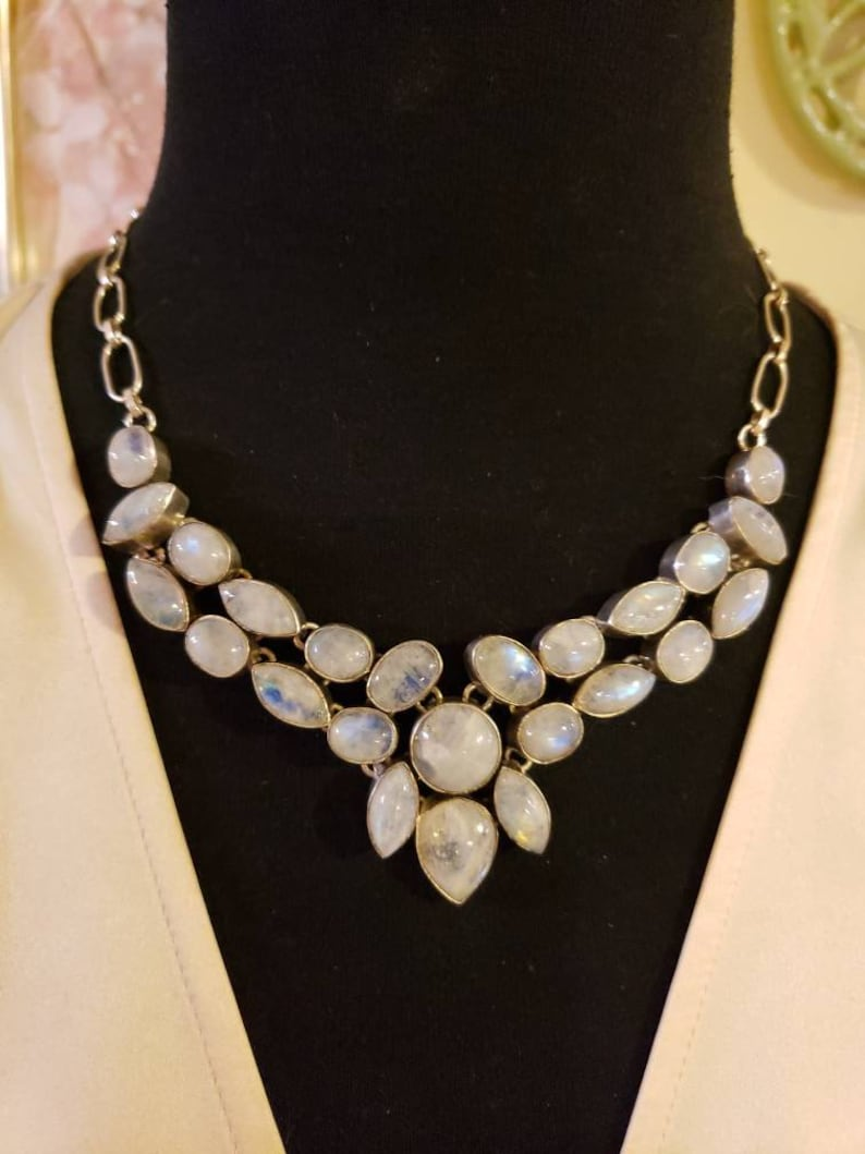 18 Long Toggle Clasp Sterling Silver RAINBOW BLUE MOONSTONE Mosaic Bib Necklace