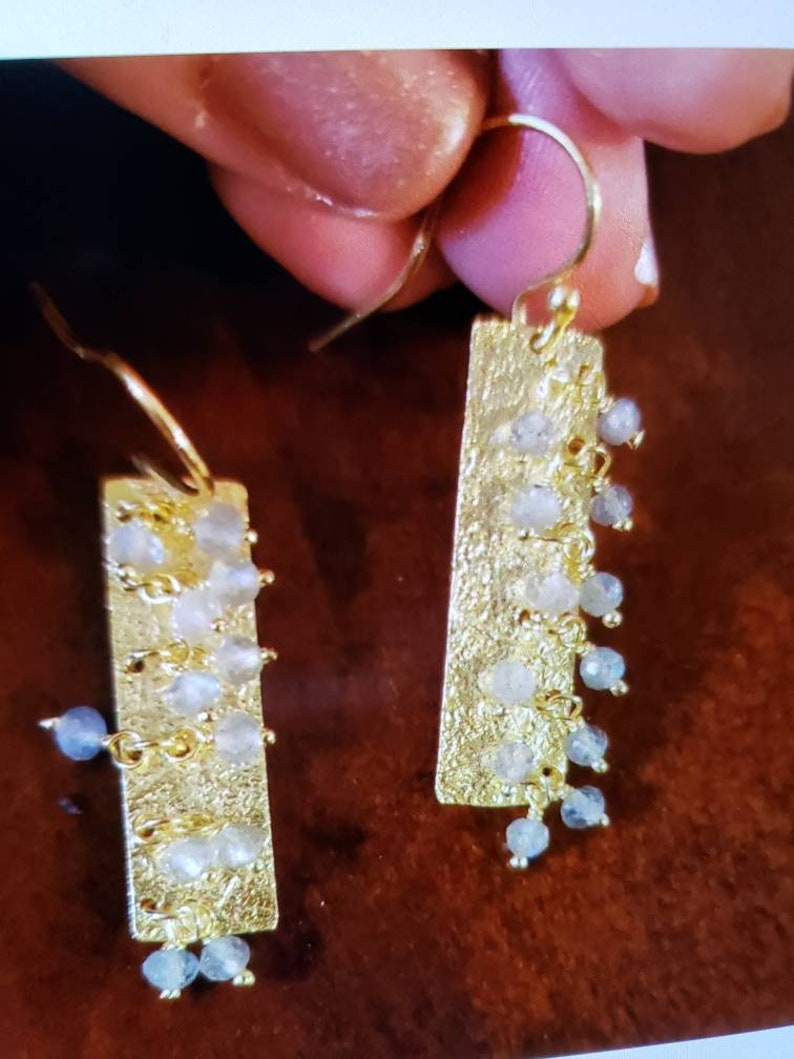 New 14K Yellow Gold Over Sterling Silver FACETED LABRADORITE Dangle Earrings Textured RECTANGLES With Faceted Beads Dangling 1 78 Long