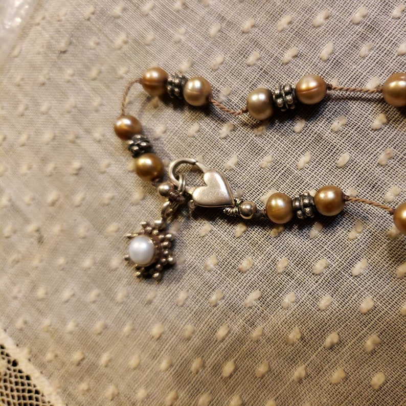 Hanging Sunburst Charm Similar To The Tin Cup Design 5mm Pearls Sterling Silver GOLDEN BEIGE PEARL /& Beaded Rondel Station 16 Necklace