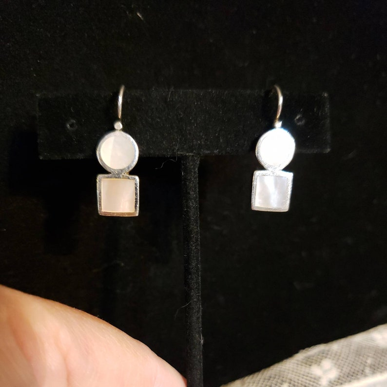 Circle Over A Square 1 Long Sterling Silver WHITE MOTHER Of PEARL Dangle Earrings Made In Thailand