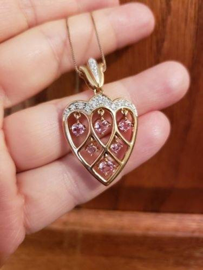 ae092318172 14K Gold Plated Sterling Silver HEART Necklace PINK Cubic