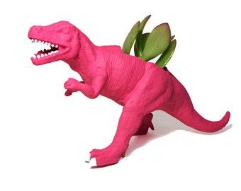 Up-cycled Dragonfruit Pink Allosaurus Dinosaur Planter