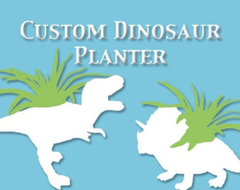 Custom Up-cycled Dinosaur Planter