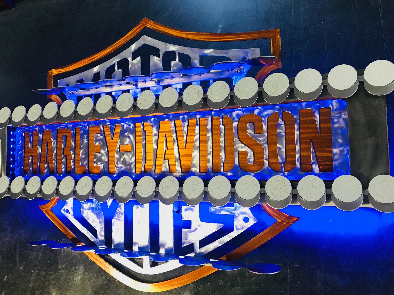 Harley Davidson shot glass and poker chip display