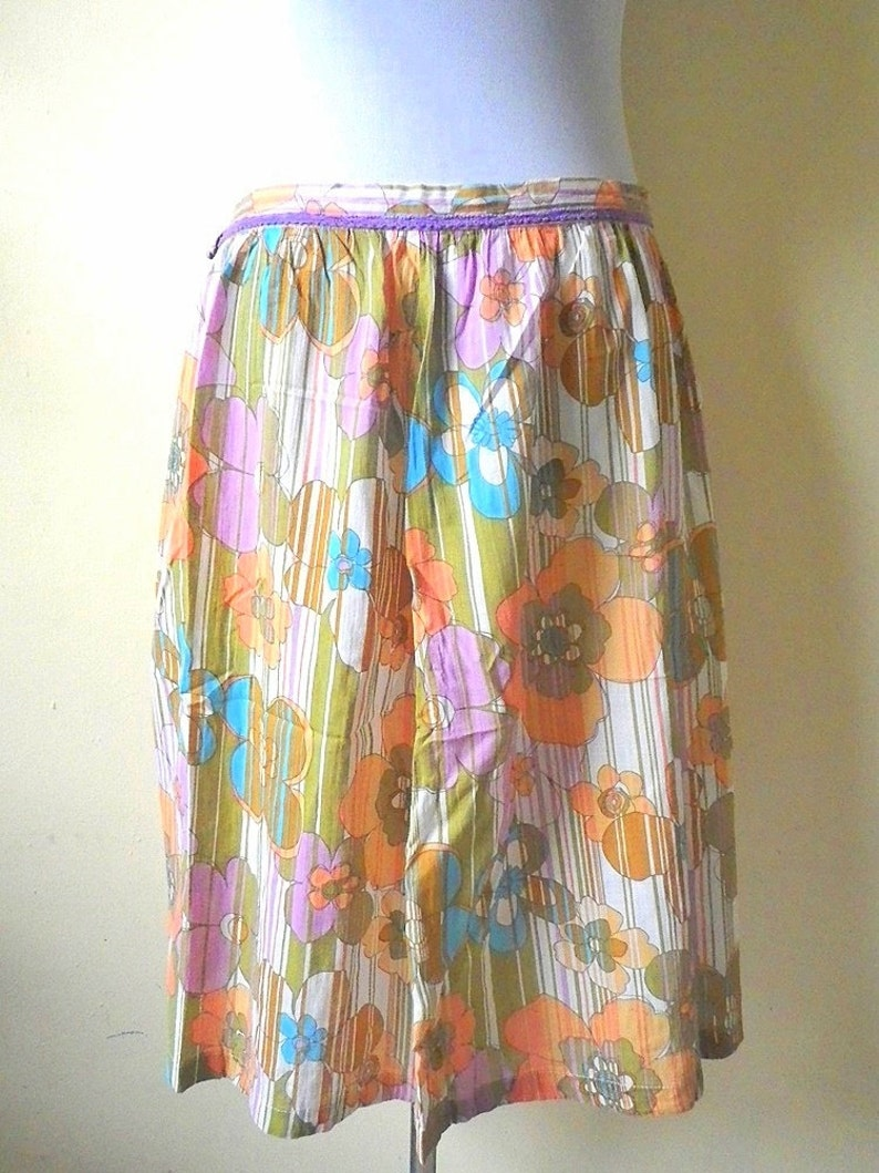 vintage purple 30 inches SALE Floral A Line Skirt: orange