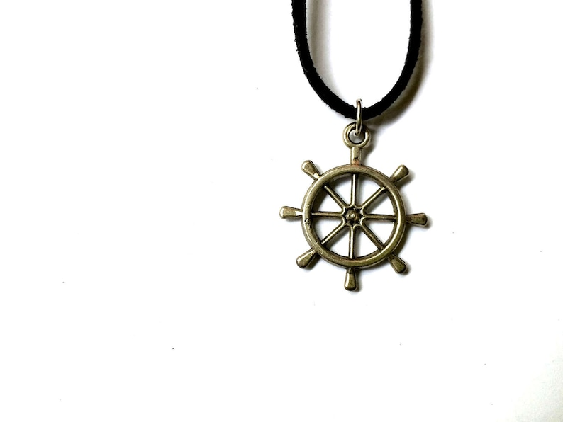 boat wheel charm in faux suede cord Ship Wheel Choker Necklace nautical jewelry beach pendant