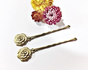 pair of bobby pins with rose charms, set of 2 hair pins with flower charms, charmed hair accessories