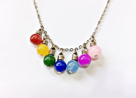 Christmas Light Necklace.Christmas Lights Necklace Colorful Light Bulbs