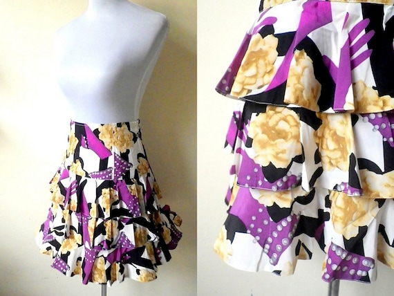 SALE Floral Layered Skirt | purple and yellow skat