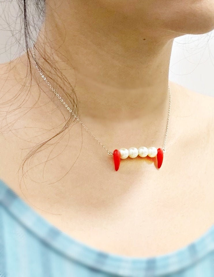 Ceramic Vampire Fangs Statement Necklace