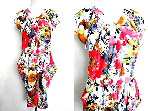 SALE Floral Jumpsuit | baggy harem pants | small t