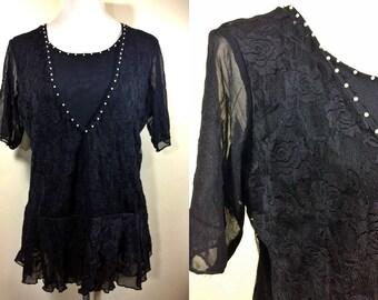 black floral lace blouse (free size)