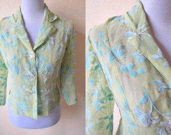 sheer brocade blazer (small to medium), yellow green floral blouse