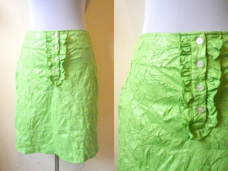 e0337c69c2 SALE Lime Green Mini Skirt: neon crumpled retro 28 inches | Etsy