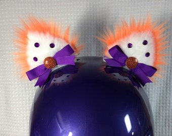 d9d015e23ff Cat Helmet Ears neon orange and purple the orange glows in low light Be  Safe Be Seen Be Wild !