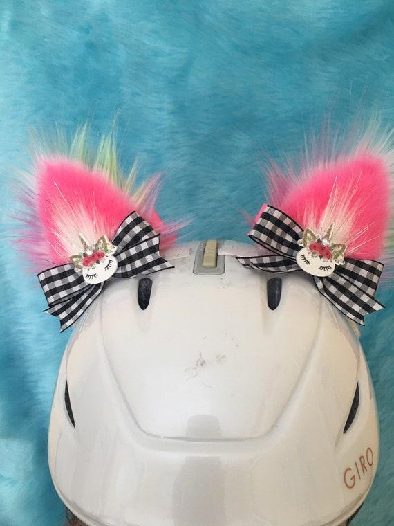 Feisty furs. unicorn for people who love both that Sticks on YOUR helmet Cat helmet ears