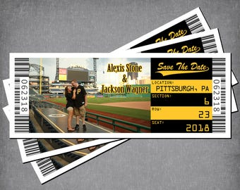 save the date ticket magnet baseball wedding theme football etsy