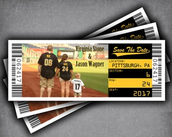 save the date ticket magnet baseball wedding theme bar etsy