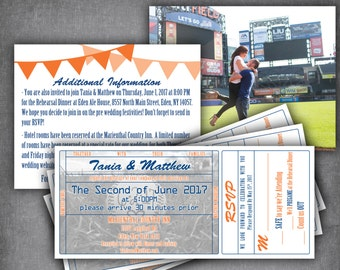 extra large new york mets baseball wedding ticket invitation set rsvp ticket stub sports wedding detail card miami marlins mlb diy